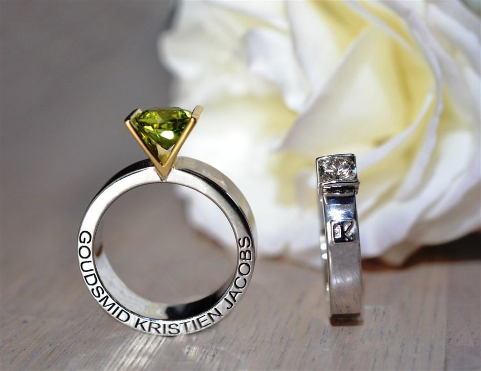made in Belgium, made in flanders, Vlaams, ring, groene steen, peridot, briljant, diamant, kleursteen, verlovingsring, trouwring, vriendschapsring