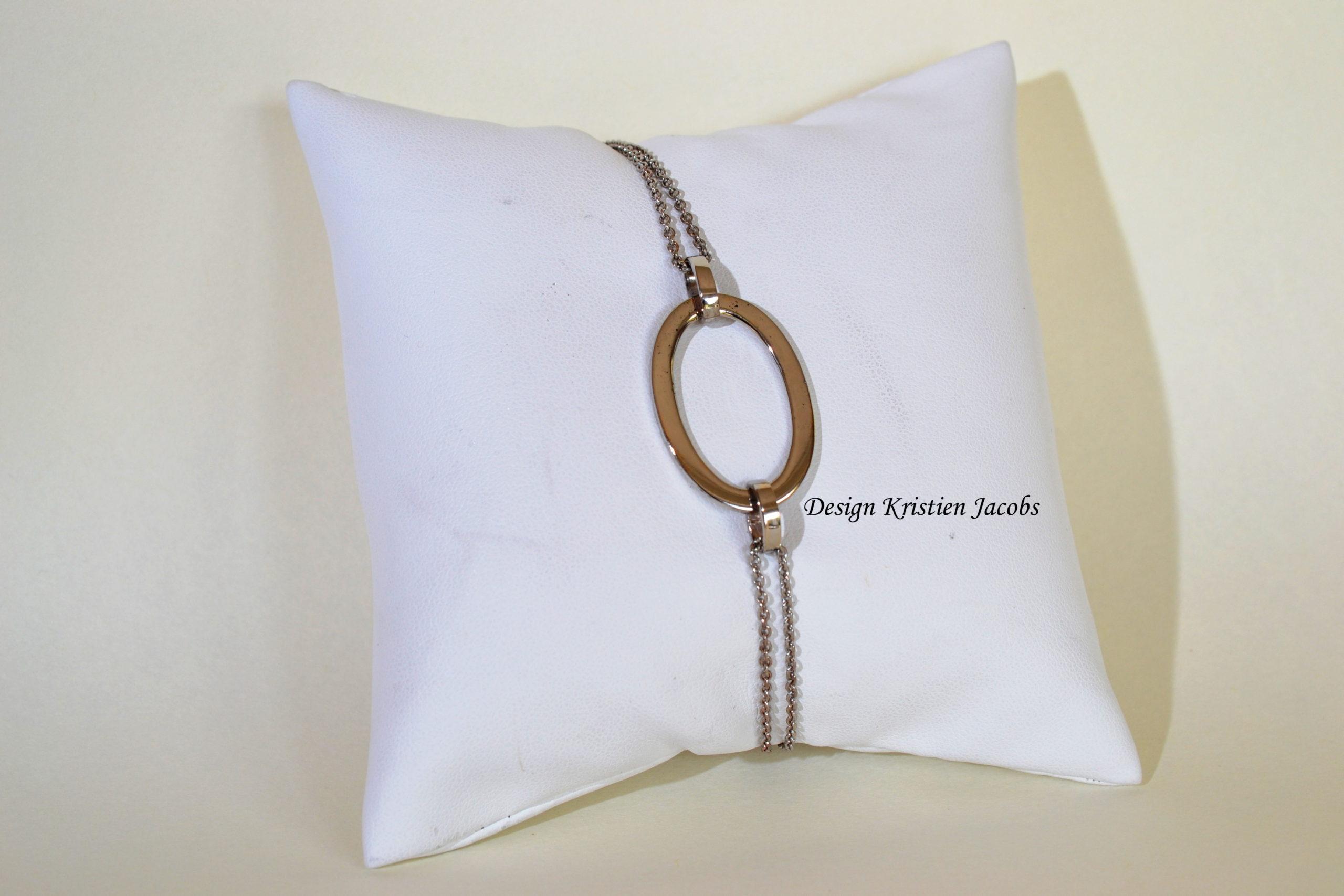 Armband met grote ovale schakel wit goud 18kt