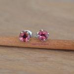 oorbellen roze saffier wit goud