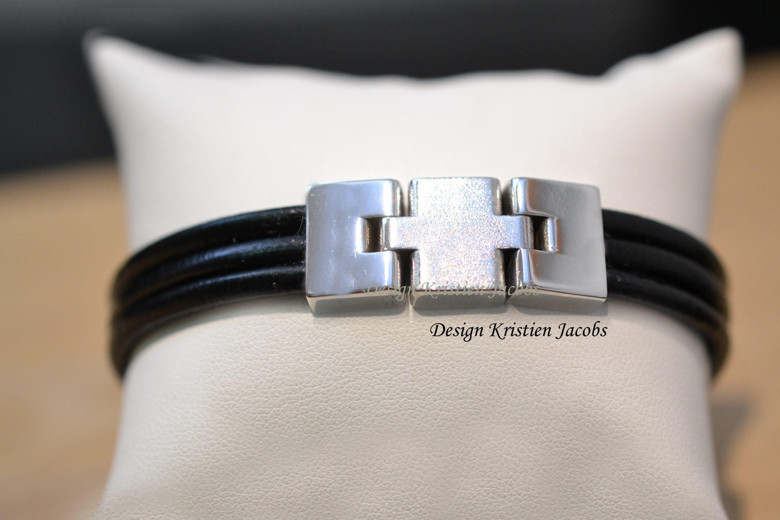 Heren armband wit goud en zwart leder