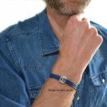 Heren armband leder blauw, handgemaakt origineel ontwerp uit eigen atelier