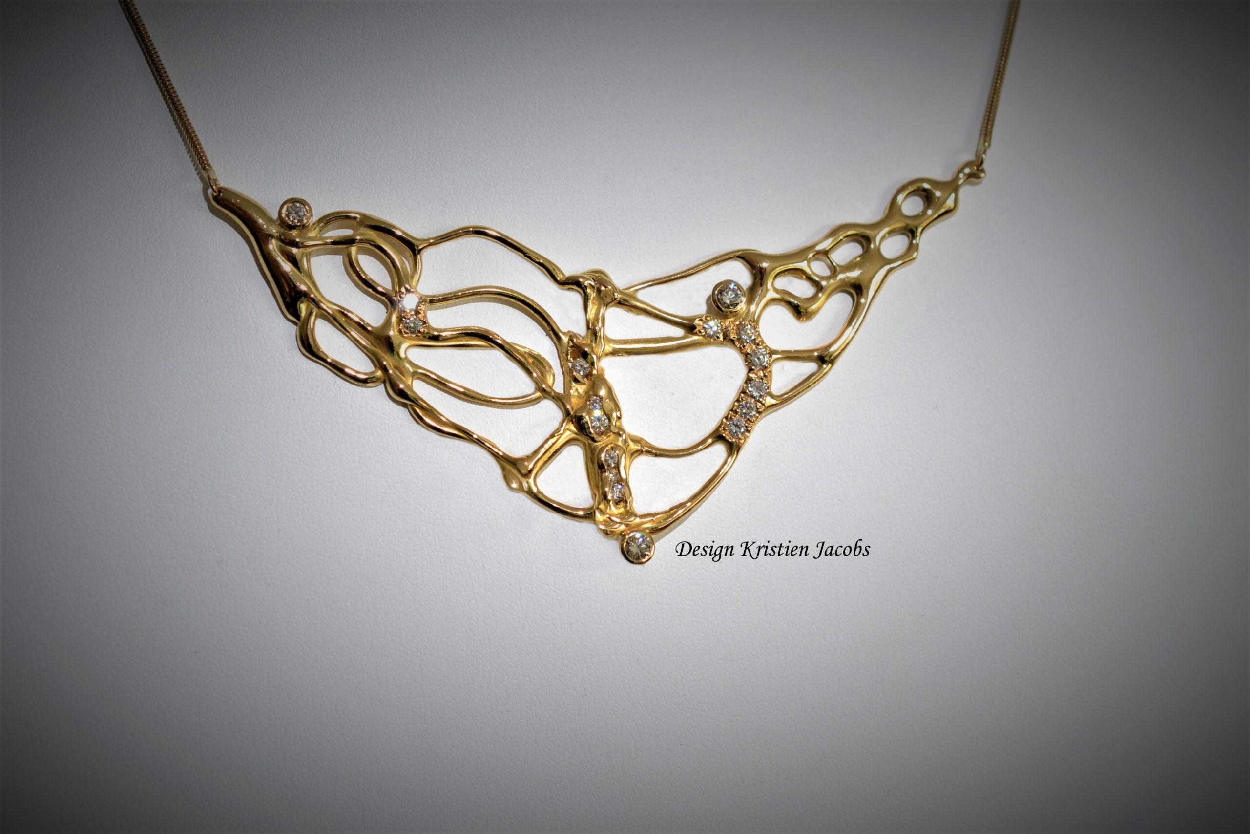 Halsketting oud goud briljant recyclage handgemaakt in eigen atelier te Mechelen